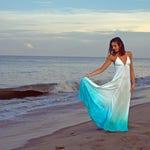 The Siren Dress WITH Lining in Mediterranean Sea, Blue ombre dress, Backless dress, Maxi dress, Resort wear dress, Beach wear cover up