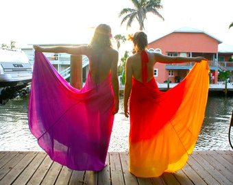 The Fuji Dress in Sunset, Red ombre dress, Backless dress, Maxi dress, Resort wear dress, Beach wear cover up, honeymoon dress