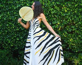 The Nahla Dress in Golden Zebra, ombre dress, Backless dress, Maxi dress, Resort wear dress, Beach wear cover up, honeymoon dress