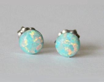 54d93c57e 4mm, 5mm, 6mm, 8mm Aqua fire opal stud earrings, Hypoallergenic Titanium  earrings, Mint opal studs, Birthstone studs, Aqua opal studs