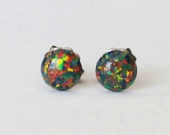 1a583bf93 6mm Black fire opal stud earrings, hypoallergenic Titanium Earrings, Black  opal studs, Gemstone post studs, Sensitive ears