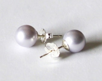 0809c0c80 8mm Lavender pearl stud earrings - Sterling Silver-14K Gold filled-  Lavender pearl studs- bridesmaid earrings- Light purple pearl earring
