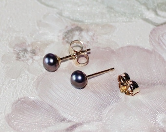 75b6b6a9a Tiny plum fresh water pearl studs- 14K gold filled earrings- small pearl  earrings- peacock black pearl earrings- small purple pearl studs