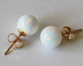 8mm, 10mm gold filled fire opal ball stud earrings Multiple colors Gold opal earrings Gold opal earrings, October birthday, Birthstone gifts