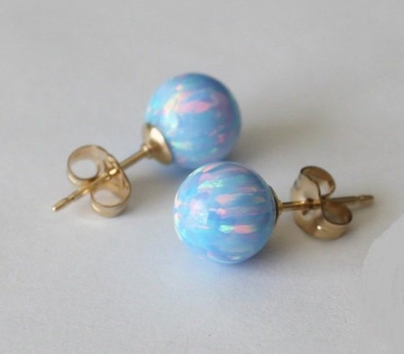 703d274750995 8mm Ice blue opal ball stud earrings, Gold opal earrings, 14K Gold filled  opal earrings, Blue opal studs, Birthstone, Light blue earrings