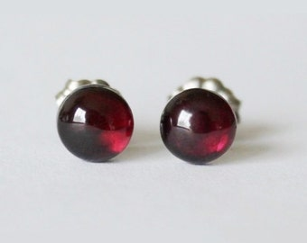 Natural garnet Titanium studs, 6mm Wine red Natural Garnet Earrings, hypoallergenic, Garnet studs, Titanium earrings, January birthstone