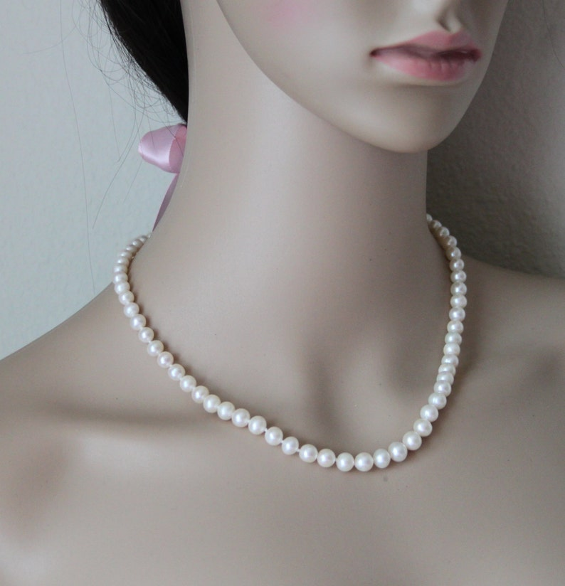Real pearl necklace Bridesmaid jewelry bridal necklace bridesmaid pearl necklace 14K gold Genuine fresh water pearl necklace gifts
