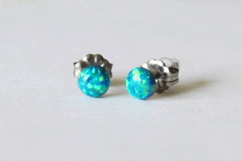 fabe905ab 5mm Peacock blue opal stud earrings Titanium opal earrings | Etsy