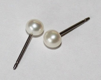 Small 3mm, 4mm, 5mm, 6mm White fresh water pearl studs, Bridesmaid earrings, Titanium pearl earrings, Hypoallergenic, Flower girl earrings