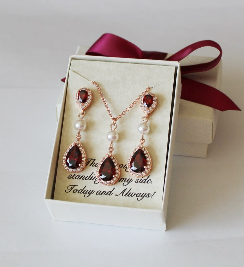 Garnet bridesmaid earrings Wedding bridesmaid jewelry Bridal earring necklace set Bridesmaid gift Burgundy red bridal necklace earrings