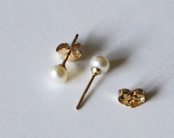 Tiny 3mm, 4mm, 5mm white fresh water pearl studs- 14K gold filled earrings- small pearl earrings-  flower girl earrings- small pearl studs