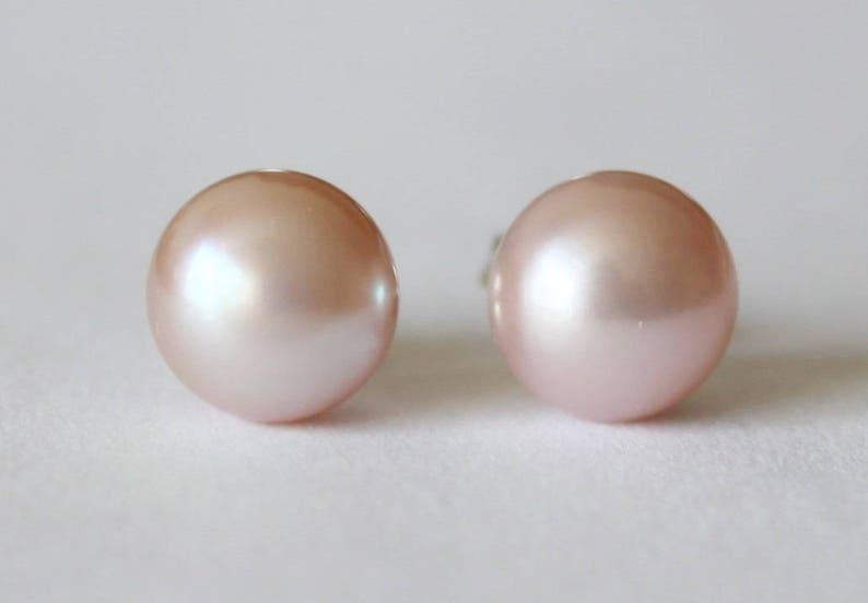 Real peach pink freshwater pearl stud earrings ear rings silver back gift boxed