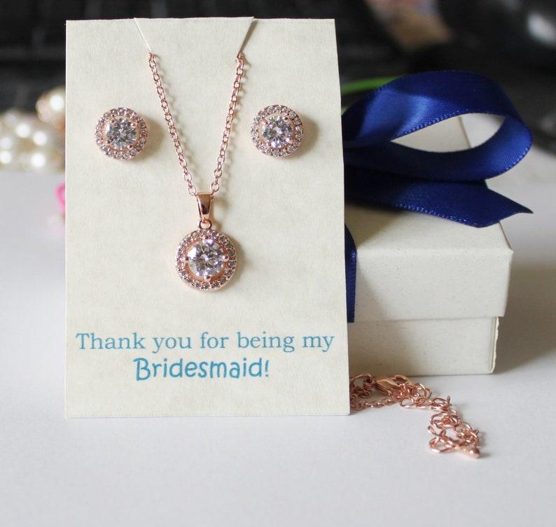 Custom Personalized CZ bridesmaid gift set bridesmaid bracelet earrings bridesmaid necklace Wedding gift set Bridesmaid earrings tie theknot