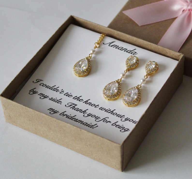 Bridal jewelry set Bridesmaid gift Bridesmaid earrings Rose gold Cubic Zirconia pearl earrings bracelet necklace set Bridal party gift