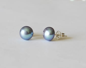 7-7.5mm genuine peacock fresh water pearl stud earrings, Peacock pearl earrings, Real pearl studs, Bridesmaid gifts, Birthday, Gifts for her