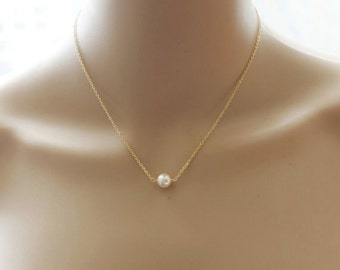 Bridesmaid necklace- Floating pearl necklace- Bridesmaid gift- Bridal necklace- Rose gold necklace- Bridal party jewelry- Bridesmaid gifts