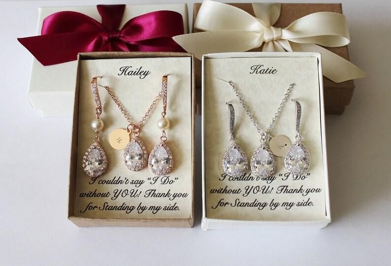 Rose gold bridesmaids CZ set Silver bridesmaids gift image 0