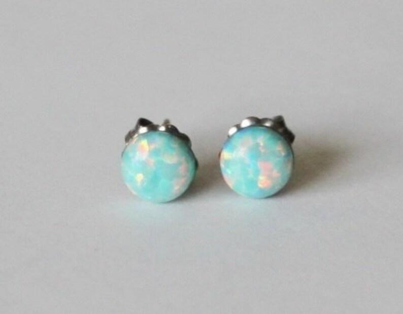 0615555c4 5mm Aqua Opal stud earrings Titanium opal earrings Mint | Etsy