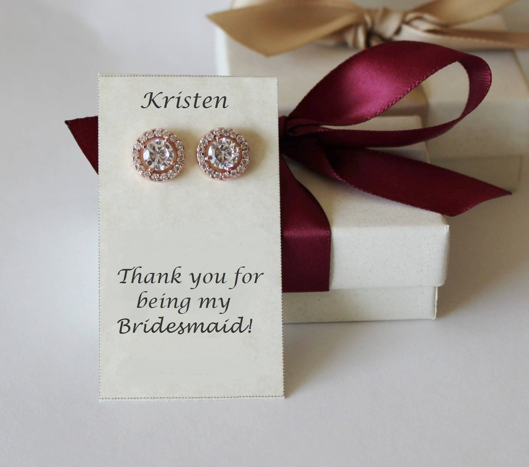 Engraved personalized bridesmaid earrings Rose gold CZ studs