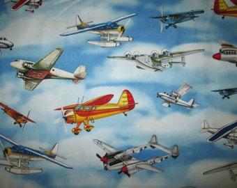 VIntage Airplane Plane Sky Blue Cotton Fabric Fat Quarter Or Custom Listing
