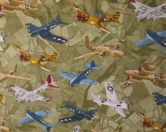 Vintage Airplane Fighter Planes Olive Tan Cotton Fabric Fat Quarter Or Custom Liisting
