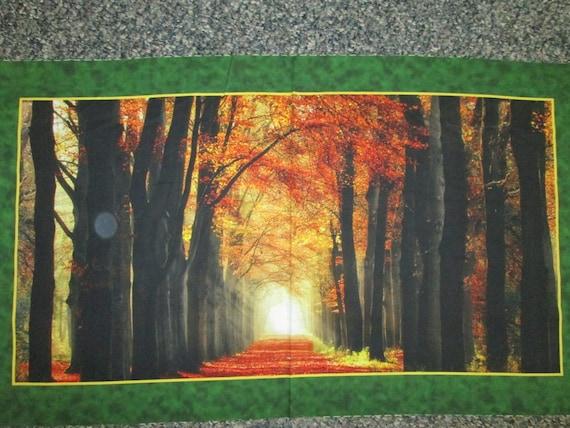 "30/"" X 44/"" Panel Autumn Landscape Woods Trees Fall Colors Cotton Fabric D513.32"