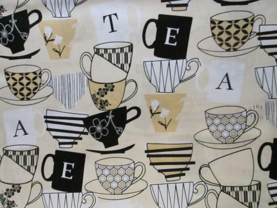 MOD TEA CUPS COFFEE BEIGE COTTON FABRIC FQ