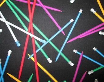 Knitting Needles Bright Colors Cotton Fabric Fat Quarter or Custom Listing
