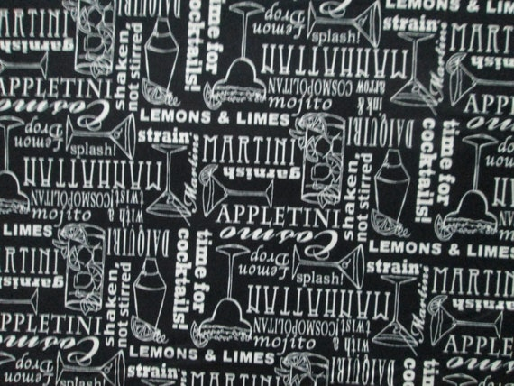 Cocktail Words Names Martini More Black White Cotton Fabric Etsy