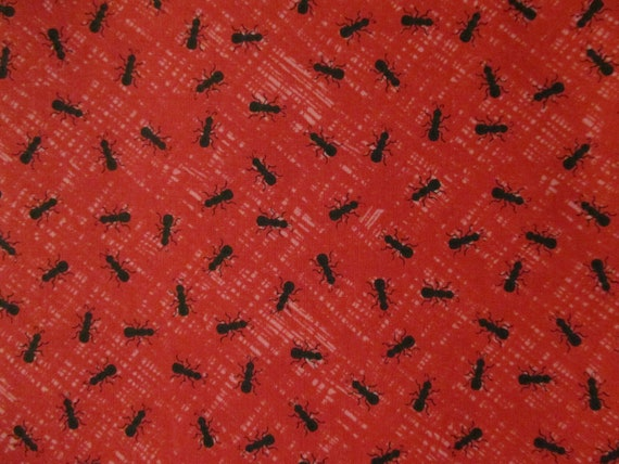 ANT BLACK ANTS INSECTS ON WHITE COTTON FABRIC FQ