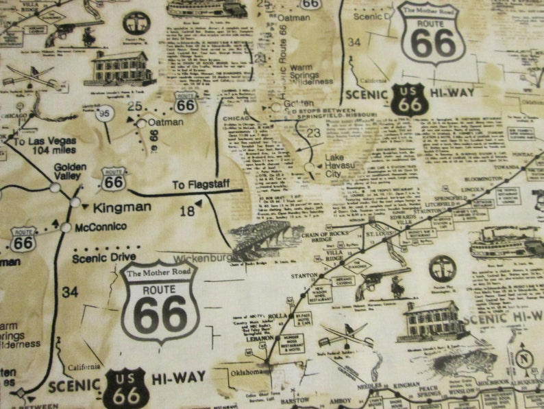 Route 66 Map Historcial Sites Tan Baumwolle Stoff Fat | Etsy on