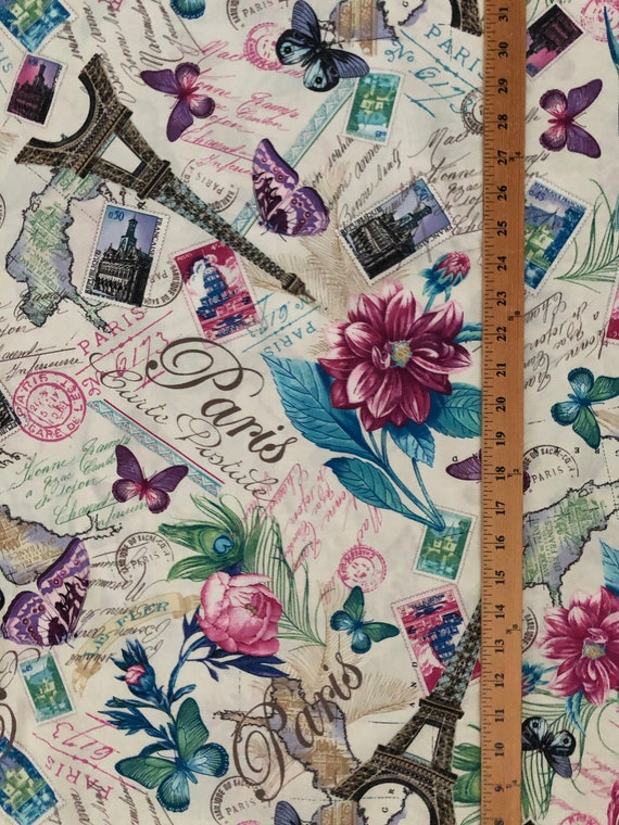 Paris Butterfly French Writing Scribe Butterflies Green Cotton Fabric FQ