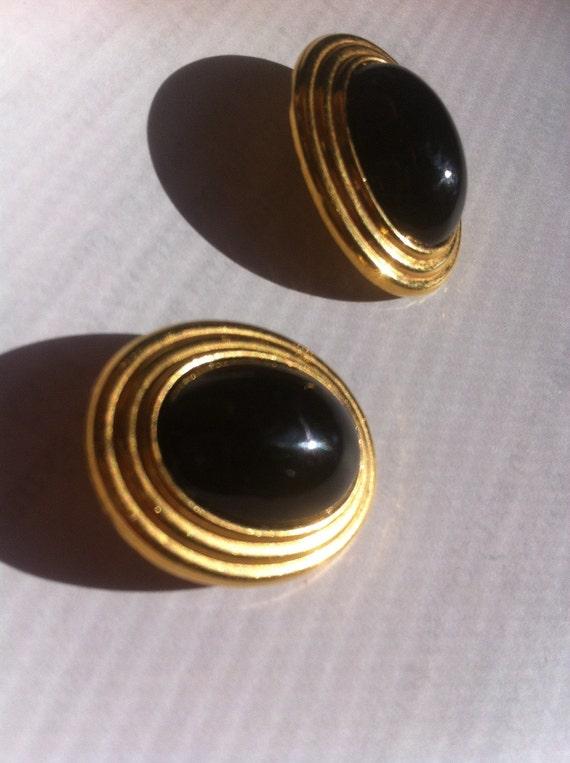 Vintage Lanvin Germany Goldtone and Noir Black Ca… - image 5
