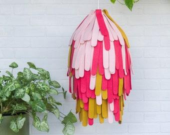Pendant Light, Hanging Lamp, Boho Lighting, Felt Lamp Shade, Modern Sculpture, Abstract Fiber Art, Modern Textile Design, Boho Nursery