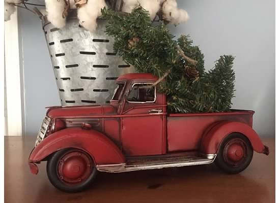 lil red pickup metal truck christmas tree tabletop etsy - Christmas Truck Decor