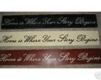 Home is Where Your Story Begins Sign Plaque You Pick Color HP Wooden Decor