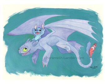 Toothless and Stitch 'Joy Ride' - 11x14 inch print