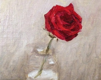 Red Rose in a Jar, 4x6 original all prima oil painting, 2016
