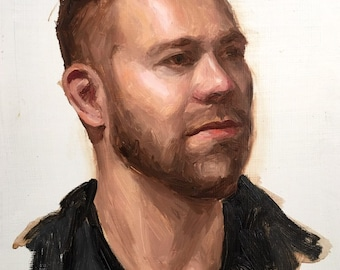 Nate, original alla prima oil portrait painting of a man, 9x12, 2018