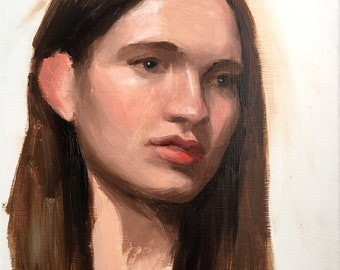 Nicole, original alla prima oil portrait painting, woman, 12x9, 2018