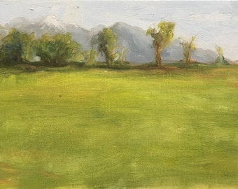 Pasture, original alla prima plein air oil painting, utah, wasatch, 5x7 2018