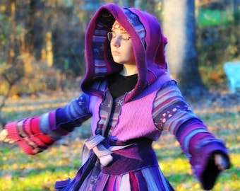 """Upcycled repurposed sweater coat fairy fantasy felted wool elf coat """"Pansy"""""""