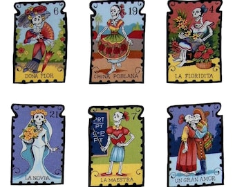Loteria - Loteria Cards - Mexican - Skeleton - Iron on Patch - Clothing - Bride - Dancer - Tshirts - Patches - La C1atrina - Set of 10 or 1