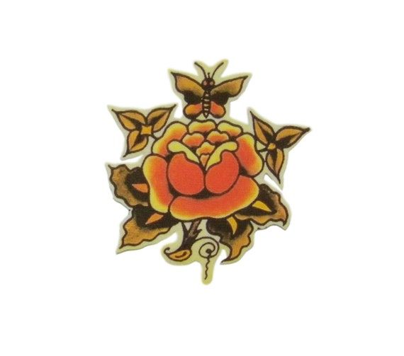 Gypsy Lady Iron on Patch Flash Tattoo Applique Rose Red Sailor Jerry Rockabilly