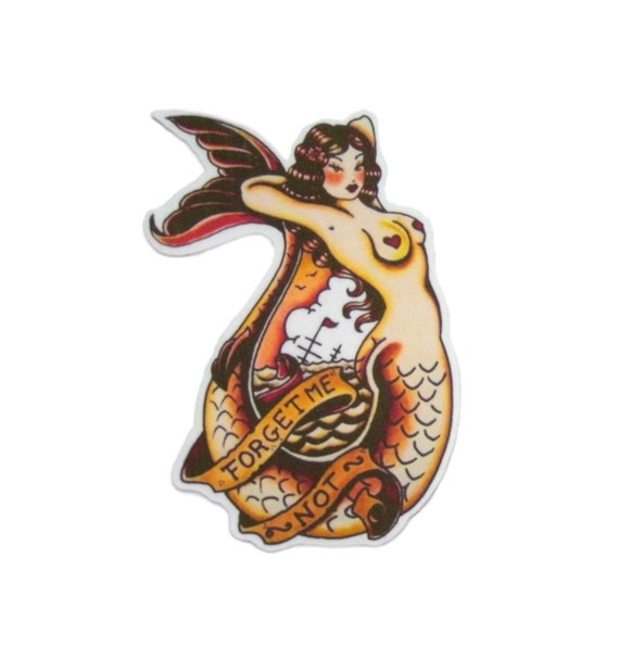 Tattoo Mermaid Pin Up Girl Embroidered Iron On Patch Retro Jacket Applique
