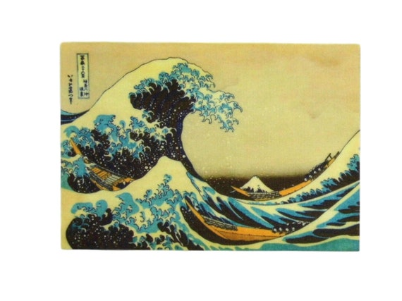 Clothing Patches Iron Sew On transfers Badge appliques Kanagawa Whale Wave Sea