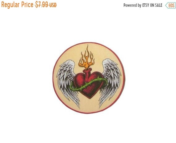 Anchor Heart Iron on Patch Flash Tattoo Applique Cotton Sailor Jerry Rockabilly