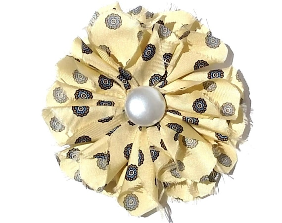 Recycled Vintage Silk Necktie Fabric Flower Clip  - Soft Yellow with Pearl Button