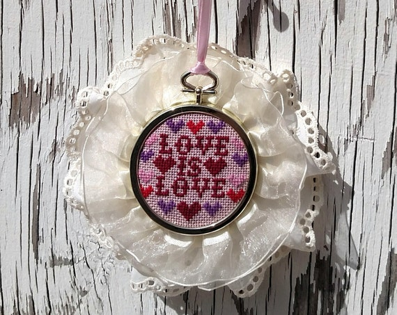 Framed Mini Embroidery - Love is Love