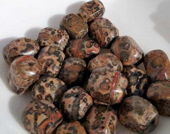 22 pc - Rectangular Leopard Jasper Beads in Pink, Red, Brown and Black